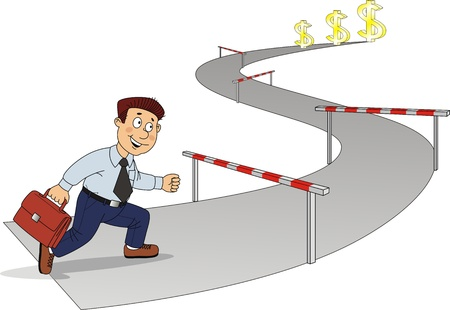 upwards: The businessman runs on road with obstacles to money