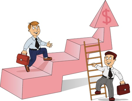 buckles: Two businessmen rise on a career ladder different ways