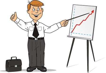 The businessman shows  the business plan on a board for presentations Stock Vector - 10410313