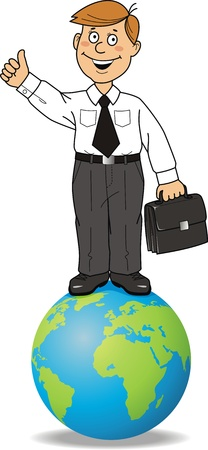The businessman costs on globe with a portfolio in hands