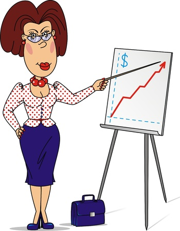 lip stick: The teacher shows the schedule on a board for presentations Illustration