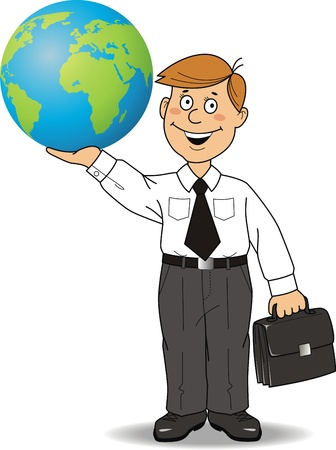 cuff buckle: The businessman holds globe in a hand