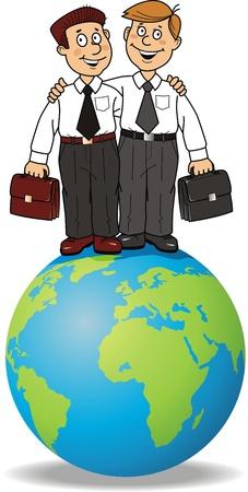 Two businessmen with portfolios stand on globe Illustration