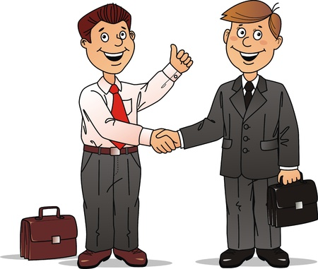 transaction: Two businessmen press each other hands after the good bargain