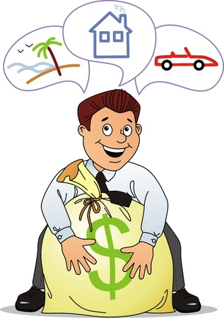realization: The businessman has earned a bag of money for realization of the dream