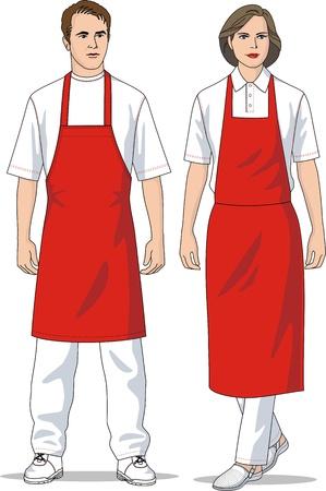 delantal: El hombre y la mujer en delantales rojos Vectores