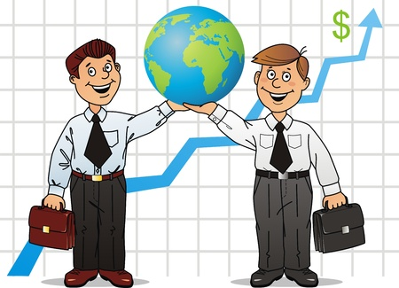 Two businessmen have control over globe Stock Vector - 10465016