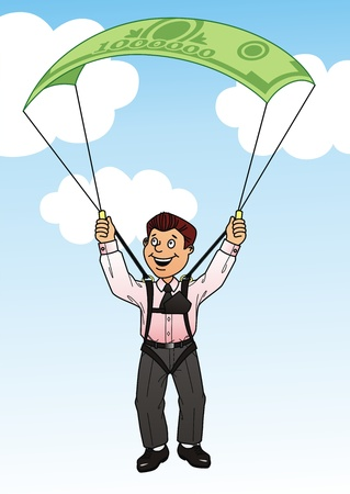 parachute jump: The businessman jumps with a parachute in the form of a monetary banknote