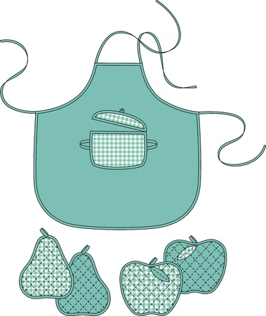 Apron with a pocket and towels in the form of a pear and an apple Ilustração