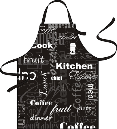 protective apron: Apron with drawing on a fabric in the form of the newspaper