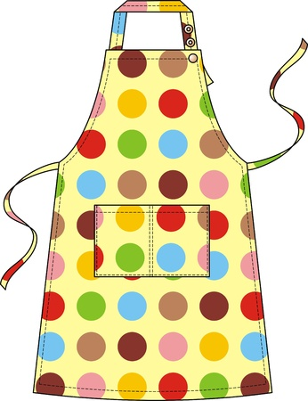 Apron with a shoulder strap on buttons and a double pocket