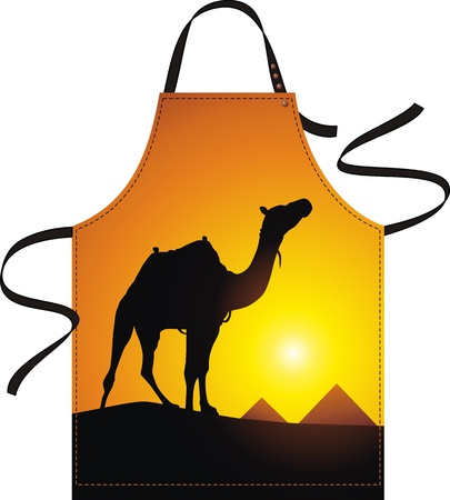 outset: Apron with the image of a camel in desert Illustration