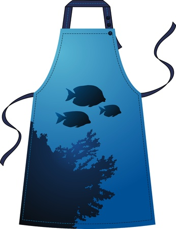 outset: Apron with the image of the underwater world with fishes