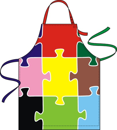 outset: Apron with the image of a color puzzle