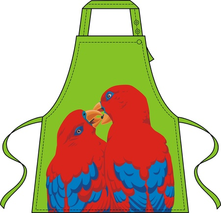 enamoured: Apron with the image of two enamoured parrots Illustration