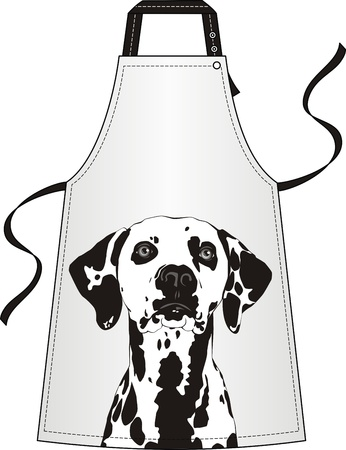 aprons: Apron with the image of a dog of a dalmatian