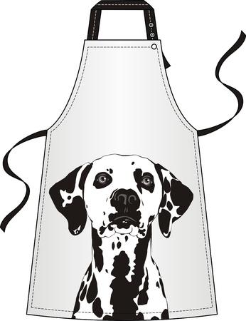delantal: Delantal con la imagen de un perro de un dálmata