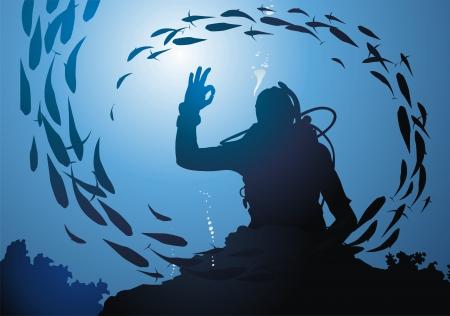 aqualung: I sub nuota tra i coralli in uno stipite di pesci Vettoriali