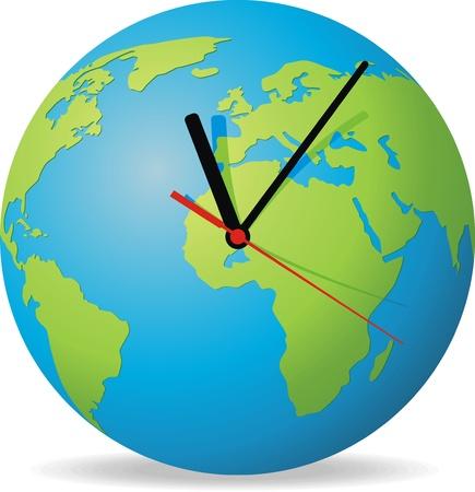 planeta verde: Soporte de reloj en forma de globo con tres flechas