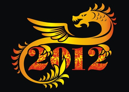 The ornamental dragon sits on figure of new year 2012 Stock Vector - 10549011