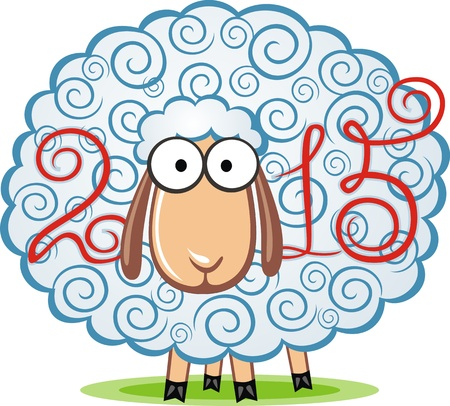 cartoon sheep: The sheep is a symbol of new 2015 year