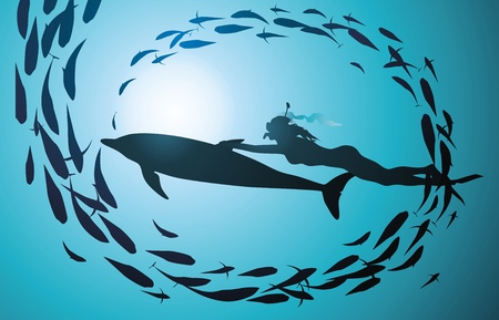 divers: The girl-diver floats by means of a dolphin through a jamb of fishes Illustration