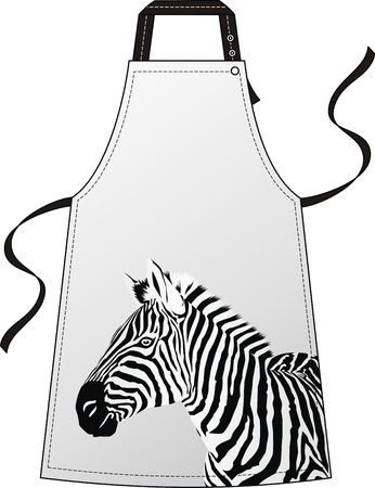 Apron with the image of a head a zebra Vector