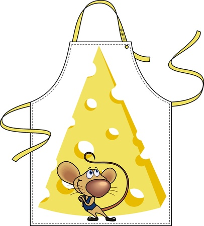 mouse hole: Apron with the image of a piece of cheese and a little mouse