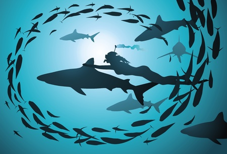woman underwater: The girl floats together with flight of sharks and among a jamb of fishes