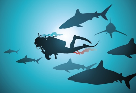 among: The wounded diver floats among malicious and hungry sharks