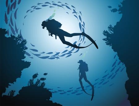 De groep duikers stijgt op uit de diepte van de oceaan Vector Illustratie