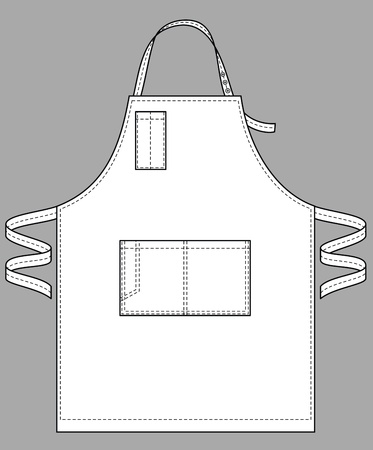 Apron with various pockets, a belt and a shoulder strap