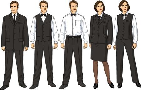 uniforme: La hembra y forma del hombre de ropa para camareros Vectores