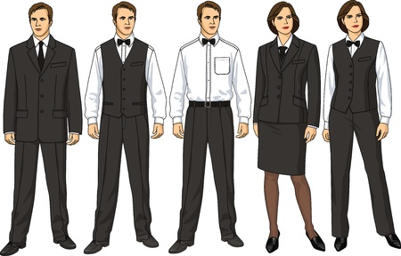 The female and mans form of clothes for waiters