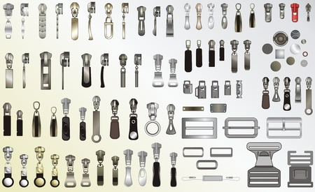 Various kinds of metal accessories for clothes Vector