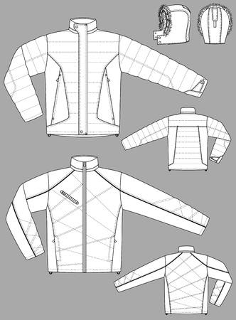 Due tipi di giacche invernali per gli uomini con le tasche Vettoriali