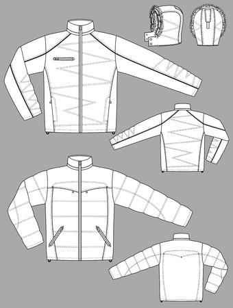 chaqueta: Dos tipos de chaquetas de invierno para los hombres con los bolsillos Vectores