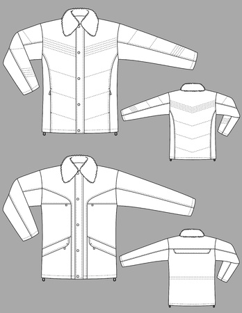 Two kinds of winter jackets for men with pockets Vector