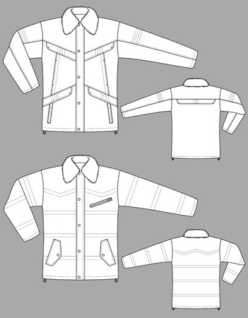 Two kinds of winter jackets for men with pockets Stock Vector - 10614208