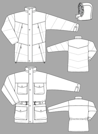 Two kinds of winter jackets for men with pockets Stock Vector - 10614216