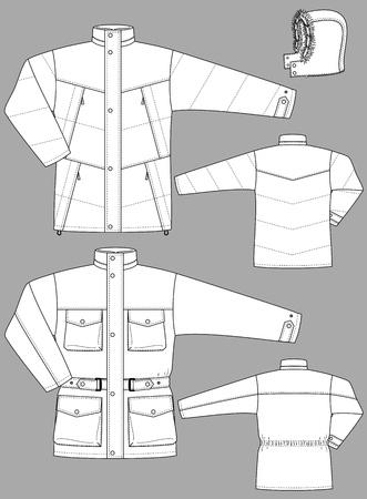 Zwei Arten von Winterjacken für Männer mit Taschen Vektorgrafik