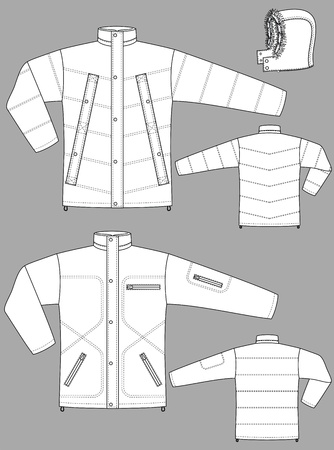 Two kinds of winter jackets for men with pockets Stock Vector - 10614211