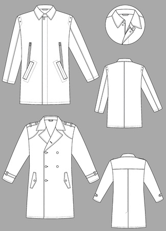 coat hanger: Two models of man raincoats with various pockets