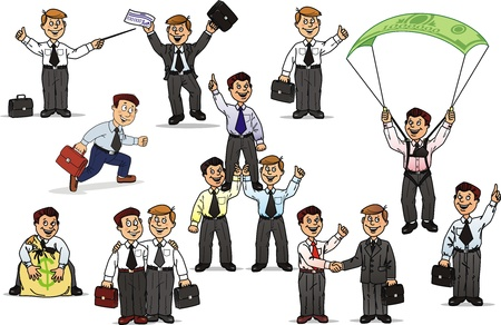 Actions of businessmen in various situations of business Stock Vector - 10614229