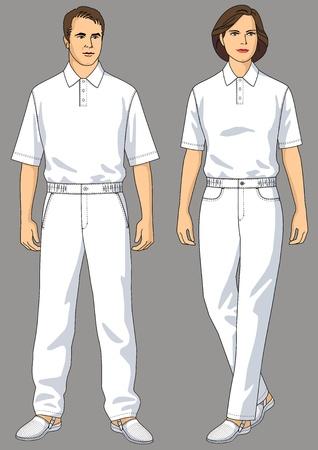 De man en de vrouw in het wit gekleed een T-shirt en broek Stock Illustratie