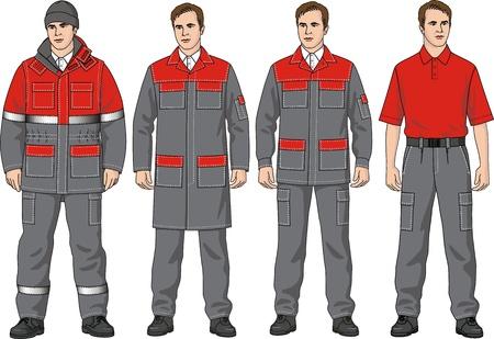 overol: El juego de ropa completo se compone de una chaqueta, pantalones, una bata, una camiseta y una gorra Vectores