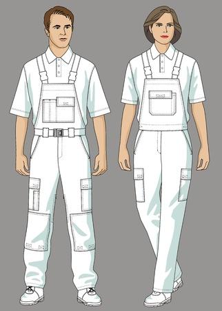salopette: L'homme et la femme sont habill�s en blanc un T-shirt et salopettes