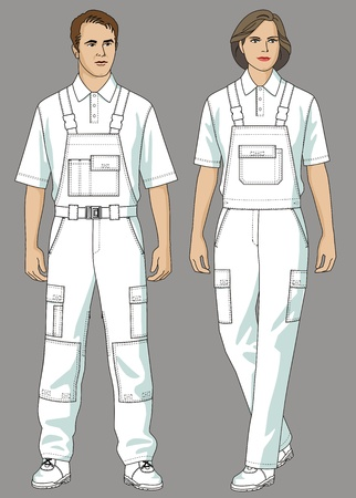 overalls: The man and the woman are dressed in white a T-shirt and overalls Illustration