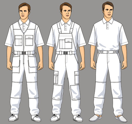 overalls: Men are dressed in white overalls, trousers and a T-shirt