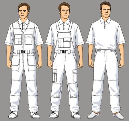 Männer sind in weiße Overalls, Hosen und ein T-Shirt gekleidet